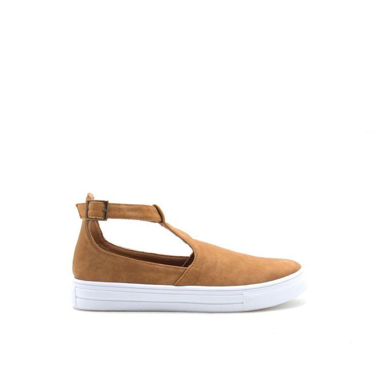 REBA-103C Camel T Strap Sneaker