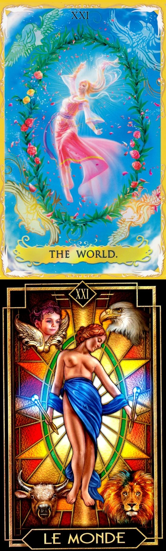 THE WORLD: fulfillment and nearing end of journey but something is missing (reverse). Alchemia Tarot deck and Decoratif Tarot deck: free angel tarot reading, tarot learning and tarot of the witches. Best 2018 paganism beliefs and lenormand decks. #learningtarotcards