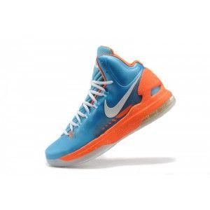 kevin durant shoes 2013 Nike KD V SkyBlue Team Orange metallic silver