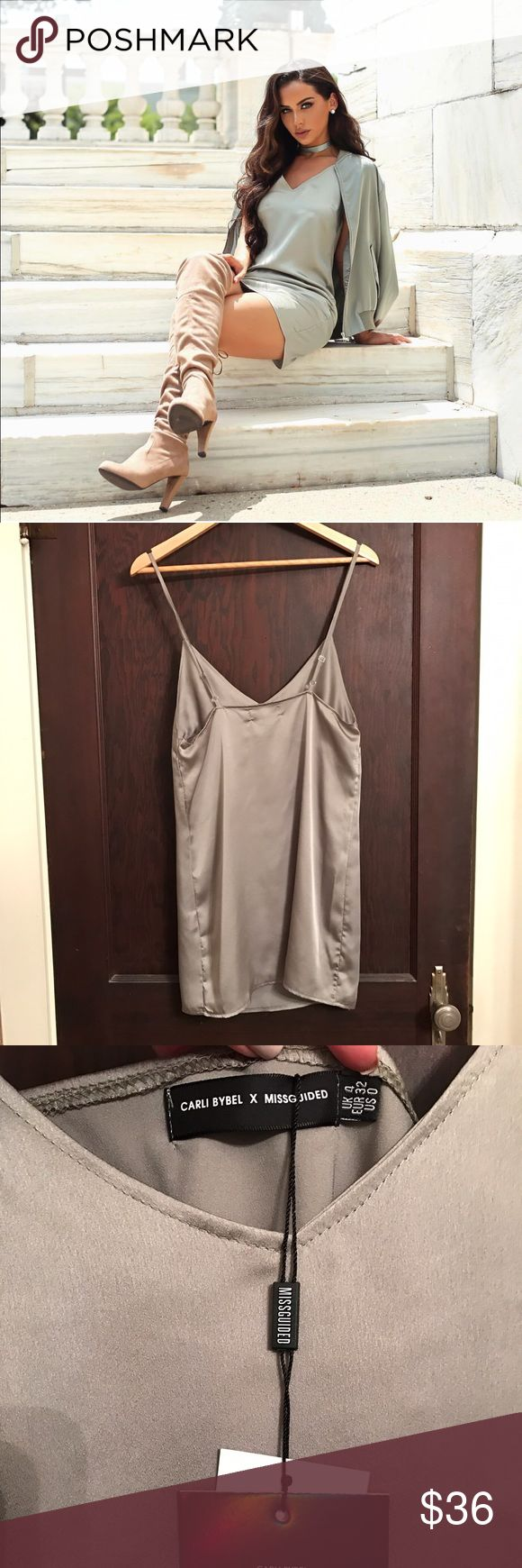 Carli Bybel x Missguided Dress New with tags. Pistachio green. Adjustable straps, which is good for length. Silk material. New with tags. Never worn. Missguided Dresses Mini