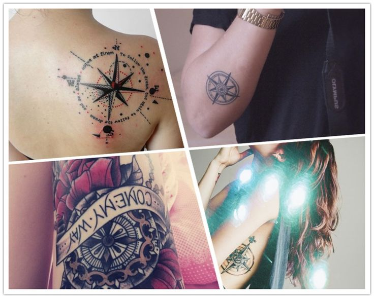 2014 cool black compass watercolor Tattoo for girls - flowers, quotes, banner