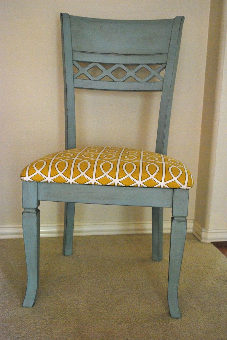 I painted my kitchen chairs with Annie Sloan chalk paint: Duck Egg Blue, and I love how it gave fresh life to my old table!  See before and after pics at BeautifulBranches.com