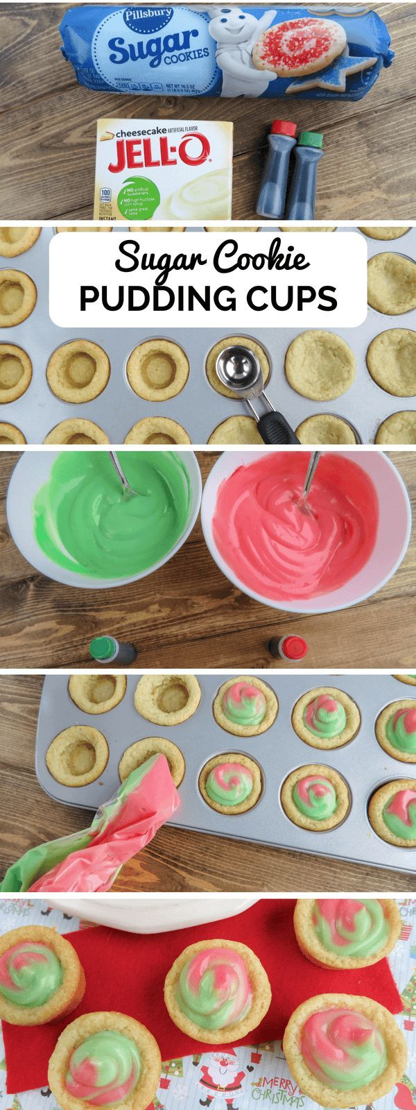 Because this recipe uses store-bought sugar cookie dough and pudding mix, everyone can make these cute little sugar cookie pudding cups with ease!