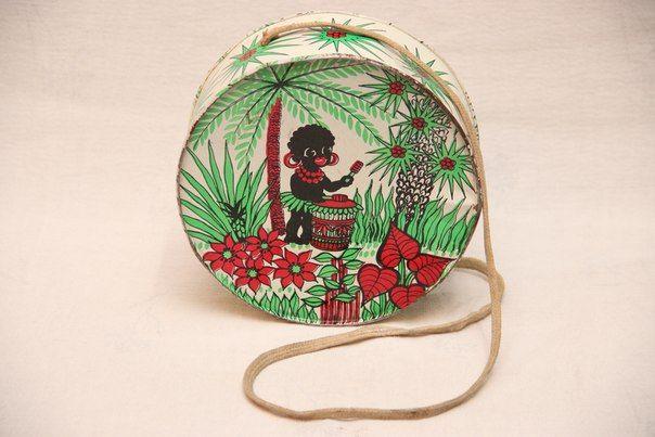 Советские игрушки Красно-зеленый барабан с негритенком