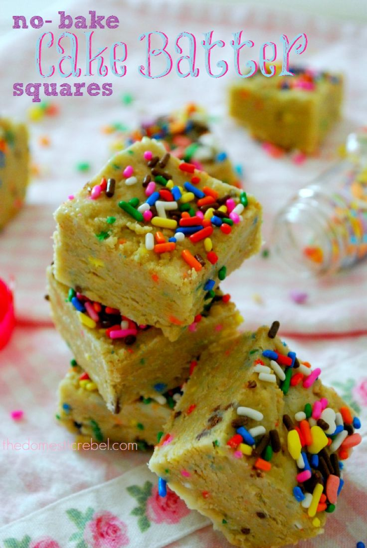 No-Bake Cake Batter Squares Want cake and frosting without the baking and decorating? Look no further than these scrumptious no-bake squares! Ingredients 1 pkg Birthday Cake Golden Oreos 1 pkg white chocolate chips 1 (14 oz) can sweetened condensed milk Rainbow sprinkles