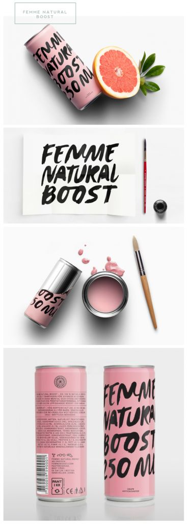 [ 100% natural energy drink + design + branding + #packaging + container ]  Femme Natural Boost // Pretty Packaging