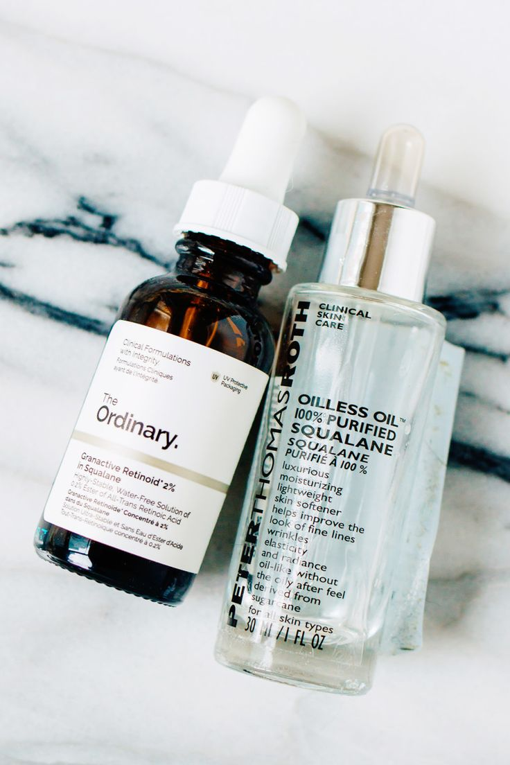 The Ordinary Granactive Retinoid 2% in Squalane and Peter Thomas Roth Oilless Oil 100% Purified Squalane.
