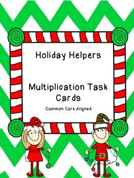 Make learning multiplication strategies more fun this holiday season with this set of Christmas Elves Multiplication Task Cards. Cards include strategies such as number bonds, tape diagrams (number strips), arrays, word problems, and distributive property of multiplication.There are two sets of cards (24 cards per set)- one in full color and the other in black and white for printing versatility.