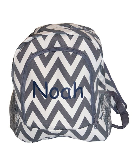 Gray Chevron Personalized Backpack