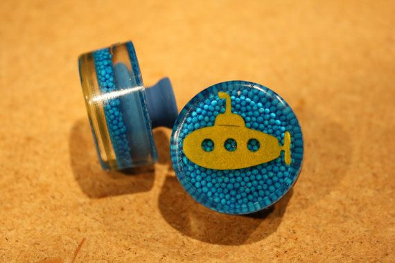 custom YELLOW SUBMARINE knobs bathroom drawer by SweetPeasKnobs, $14.00