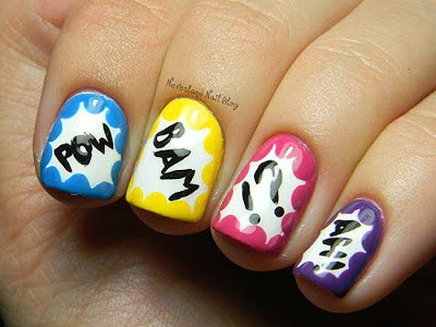 Comic Book Action Bubble Nails + Tutorial! Nail art design
