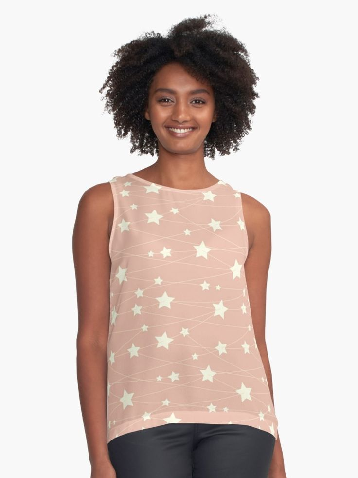 Hanging Stars - ashy pink by LunaPrincino  #redbubble #print #prints #art #design #designer #graphic #clothes #for #women #apparel #shopping #tshirt #tees #tank #top #office #fashion #style #pattern #texture #pretty #cute #beautiful #girlish #dreamy #hanging #stars #ashy #pink #and #cream #beige #fantasy #starry #pale #pastel #magic #gift #idea #trend #summer #spring
