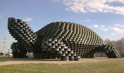 Giant Wheel Rim Tortoise, Dunseith, North Dakota - 18 feet tall made of 2,000 old wheel rims