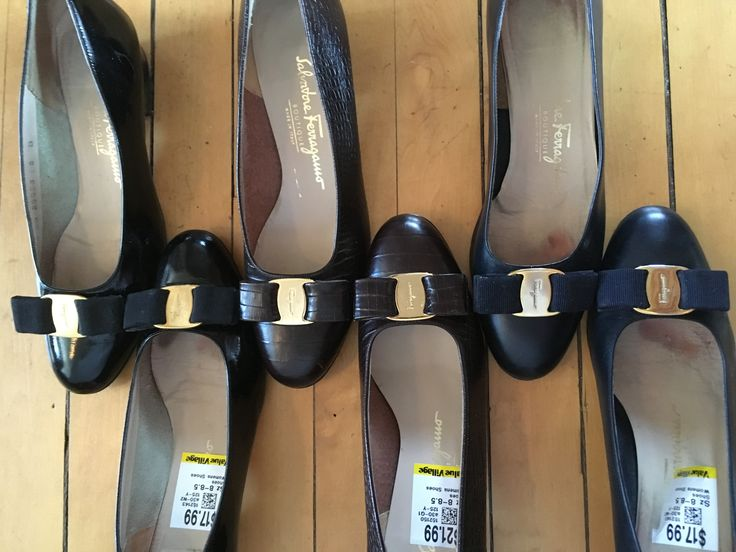 Three pair of Salvatore Ferragamo low-heeled pumps.  Navy, black and brown.  $17.99 - $21.99 each.  Value Village .
