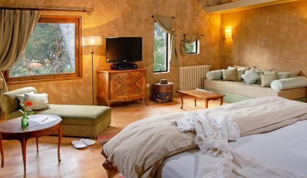 LUMA Casa de Montaña: All eight Suites are painted in pastel shades, with cypress-tree beams and forest views.