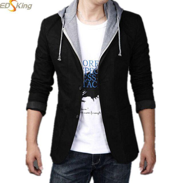 2016 Nuevos Hombres de la Llegada Blazers Y Chaquetas Con Capucha Slim Fit Traje Un Hombre Diseños Abrigo Marca de Ropa Terno masculino traje Homme