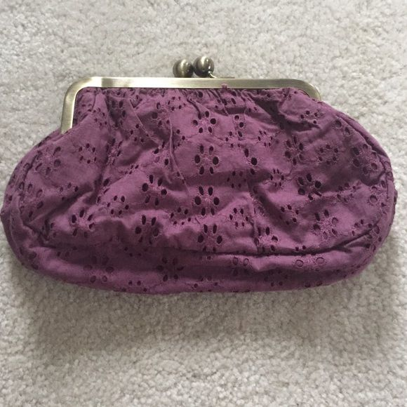 Purple clutch Clutch purse. Purple eyelet with purple cotton interior. No straps. Large gold ball closure. Tara Jarmon Other