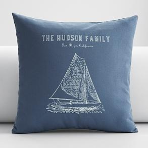 Personalized sailboat pillow from Red Envelope: Small Details, Confidential Gift Party, Red Envelope, Gift Ideas, Sailboat Pillow, Throw Pillow Covers, Throw Pillows, Gift Party Ideas, Personalized Sailboat