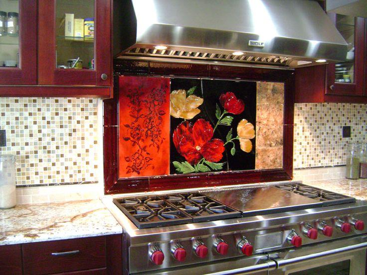 Large Red Floral Kitchen Backsplash Designer Glass Mosaics Designer Glass Mosaics