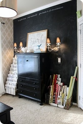 home officeDining Room, Chalkboard Walls, Black Walls, Wrapping Papers, File Folder, Offices Ideas, Storage Ideas, Chalkboards Wall, Home Offices