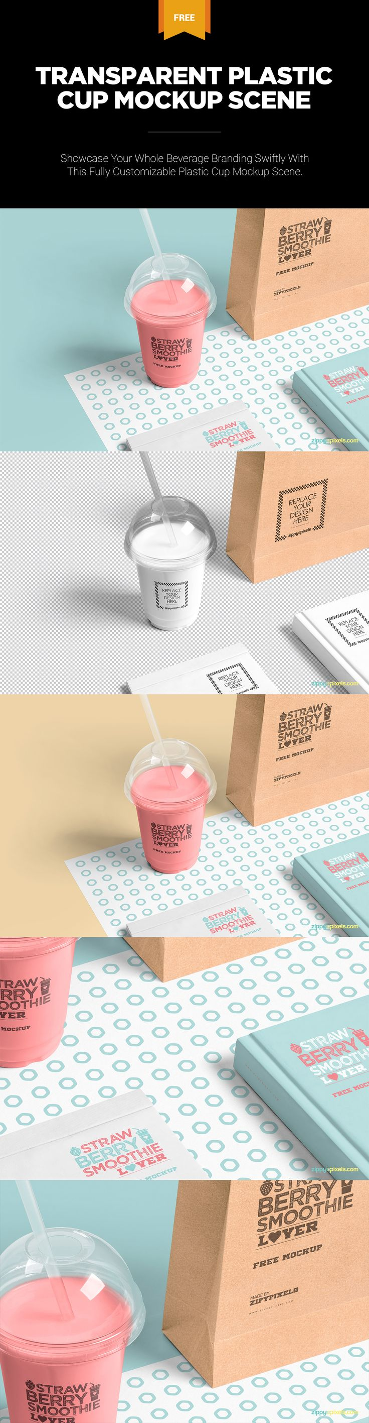 A single freebie for showcasing your whole beverage brandings in no time. #free #freebie #mockup #psd #photoshop #branding #packaging #transparent #cup #beverages #book #bag