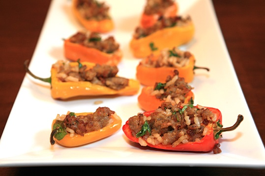 Vietnamese flavors stuffed mini peppers