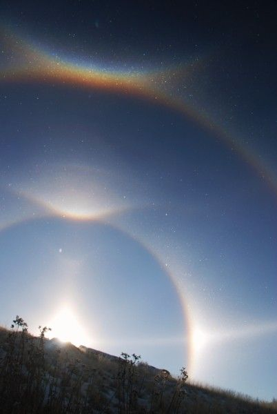 Diamond dust display of arcs and halos, viewed at approx 8,700 feet above a small town called Silvercreek, Colorado.