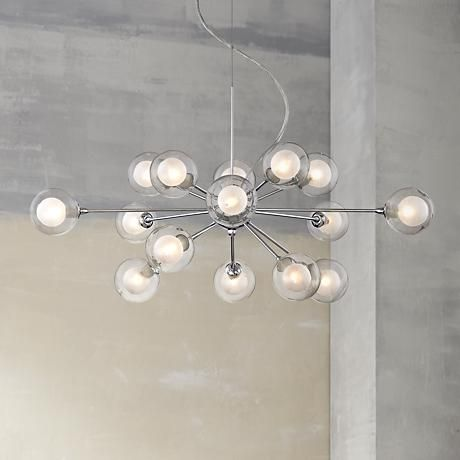 Possini euro design glass sphere 15 light pendant chandelier style p4847