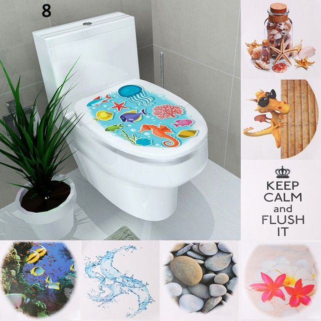 1pc Wc Sticker Toilet Cover Toilets Tedestal Commode Sticker Home Bathroom Decal Mual Art Waterproof Posters Pa Bathroom Decals Toilet Covers Paper Decorations