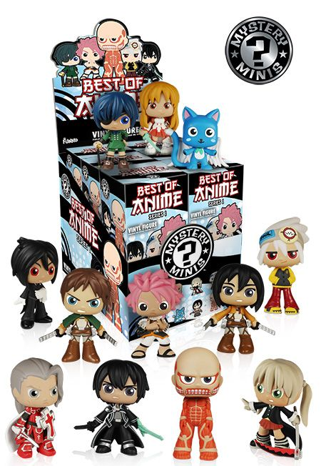 Pop Funko Mystery Minis Best of Anime | Coming Soon/November (featuring Attack On Titan, Sword Art Online, Soul Eater, Fairy Tail, and Black Butler)