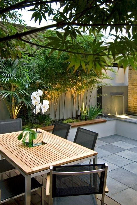 contemporary garden and roof terrace. Love the water feature using height of…