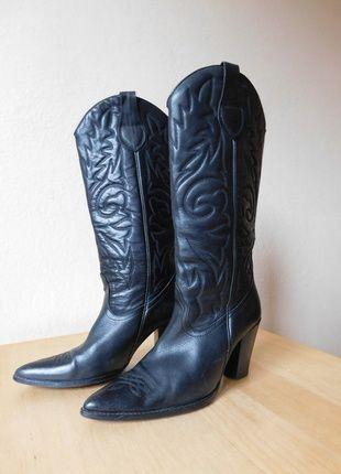 Kup mój przedmiot na #vintedpl http://www.vinted.pl/damskie-obuwie/kozaki/11675069-zara-czarne-kozaki-kowbojki-skora-38