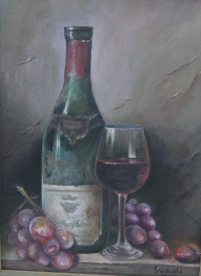 abstract wine bottle and wine glass painting - Google ...
