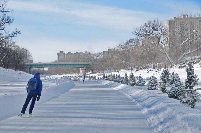 Skating in Winnipeg at the Forks