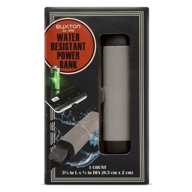 Buxton Water Resistant Power Bank - Gray, Grey