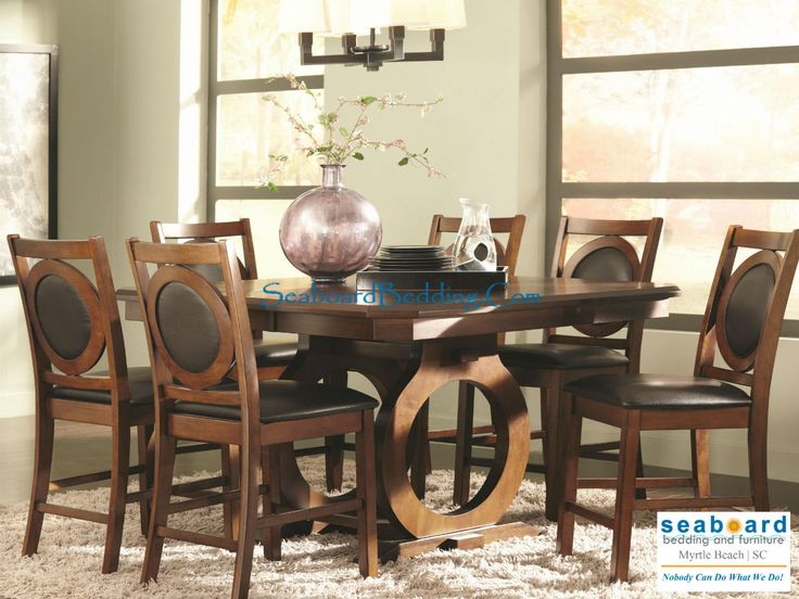 St John Counter Height Dining Table With Circular Cut Out Double Pedestal Base And Leaf
