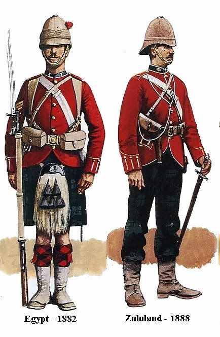 Black Watch other ranks and officer's uniform patterns, 1880s