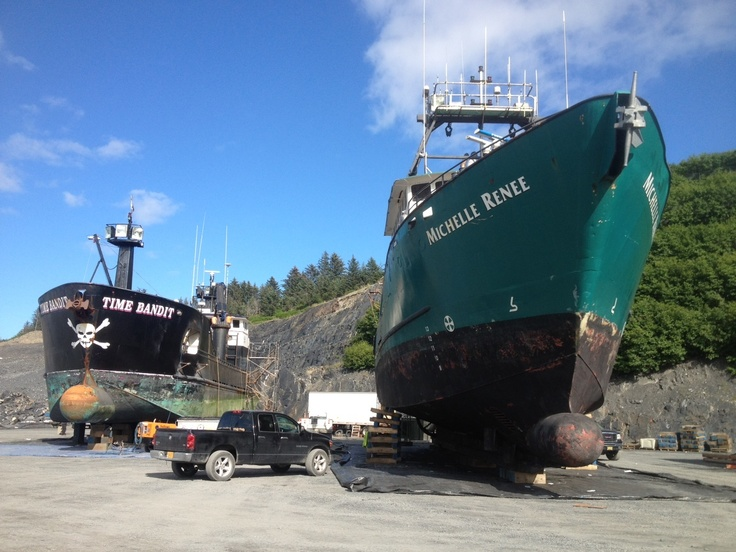 boat in Alaska  next to Time Bandit from Deadliest Catch in boat yardDeadliest Catch Time Bandit