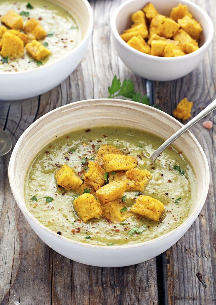 Green Machine Soup with Polenta Croutons | Green, The o'jays and ...