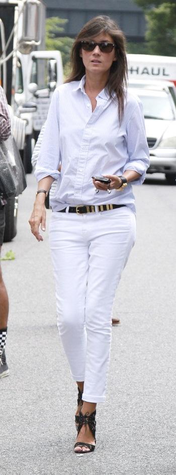 Emmanuelle Alt white + black accessories