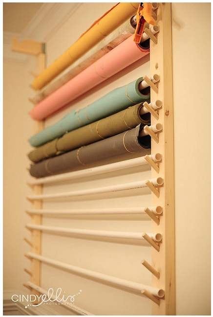Wall mount fabric/gift wrapping paper rack
