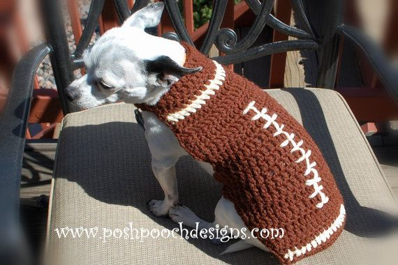 Football Custom Dog Sweater small Dogs 215 lbs by poshpoochdesigns, $20.99