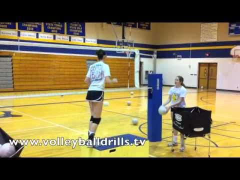 Working on the final right-left of the slide footwork. Focusing on the driving of the knee and arms straight up to the ceiling and then the exchange of arms with an elbow high. Visit http://www.volleyballdrills.tv/category/volleyball-drills/volleyball-drill-for-hitting for more.