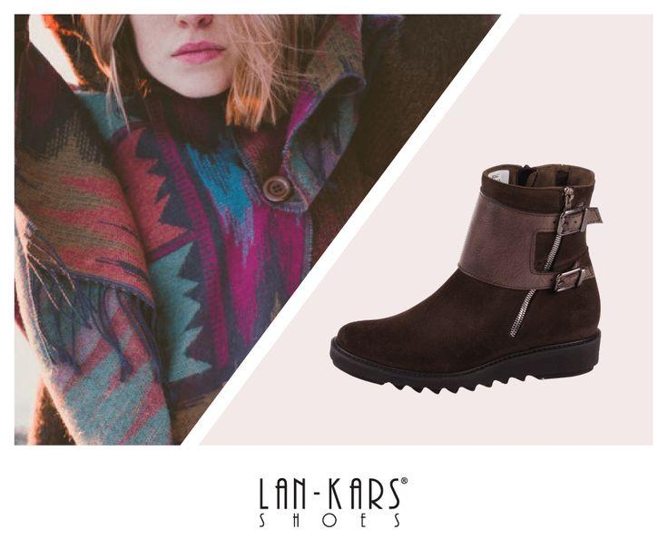 Ocieplane, brązowe buty na grubej podeszwie.  #lankars #shoes #brown #leather #indian #aztec #model #warm #autumn #fall #woman #girl #scarf