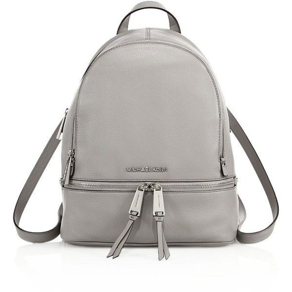 29db846b268b MICHAEL MICHAEL KORS Small Leather Backpack (£220) ❤ liked on Polyvore  featuring bags, backpacks, apparel accessories, pearl grey, leather ipad  bag, ...
