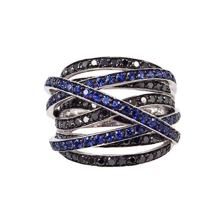 'Universe' Wavy Champagne Diamond & Black Gold Band,Champagne Diamond & 18K Black Gold Ring