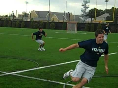Notre Dame Head Coach, Kevin Corrigan, take you through some agility drills he does with his team to improve their athleticism in the off season.