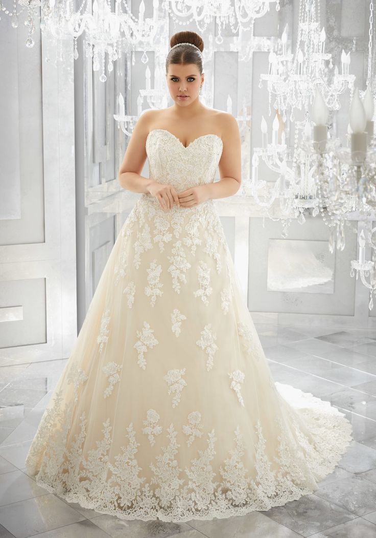 Amazing Mori Lee Muriella plus size wedding dress classic A line silhouette in soft tulle lace appliques A strapless sweetheart neckline