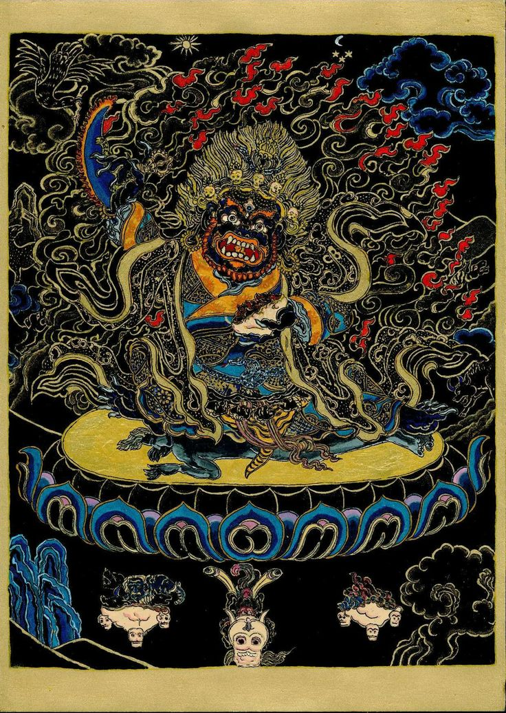 Mahākāla is typically black in color. Just as all colors are absorbed and dissolved into black, all names and forms are said to melt into those of Mahakala, symbolizing his all-embracing, comprehensive nature. Black can also represent the total absence of color,  in this case  signifying the nature of Mahakala as ultimate reality. His crown of five skulls represent the transmutation of the five  kleshas( negative afflictions) into the five wisdoms. 2011. May, inspired by a Tibetan painting.