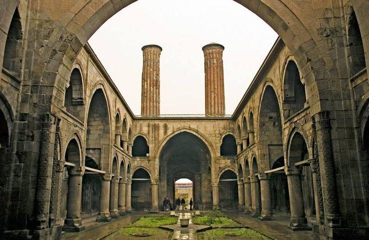 "he Çifte Minareli Medrese is an Islamic school built by the Seljuk Dynasty in 1265 in Erzurum. Its name means ""Twin Minaret School"" — in Erzurum, Turkey."